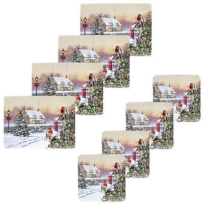 Christmas Tableware 4 Pack Corked Back Coasters & Placemats - Robin and House