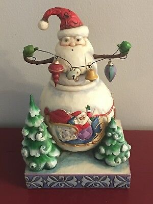 Jim Shore Heartwood Creek Frosty Santa Snowman with Ornaments  2008  4010625