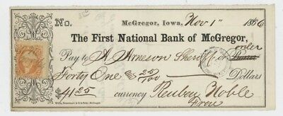 Mr Fancy Cancel The First National Bank of McGregor Iowa 1866 Check #2460