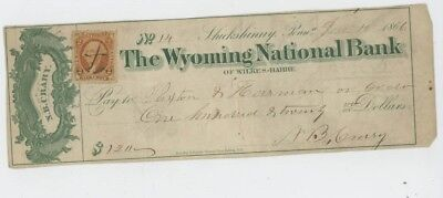 Mr Fancy Cancel The Wyoming National Bank of Wilkes-Barre PA 1866 Check #2459