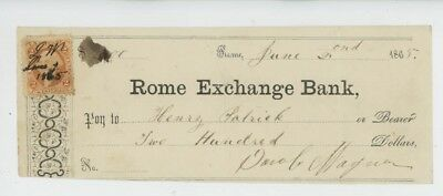 Mr Fancy Cancel Rome Exchange Bank 1865 Rome NY Check #1792