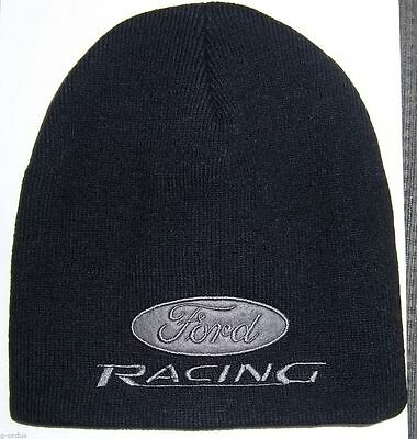 New Embroidered Ford Racing Beanie Or Beanie Skull Black Hat/cap! Nascar Nhra