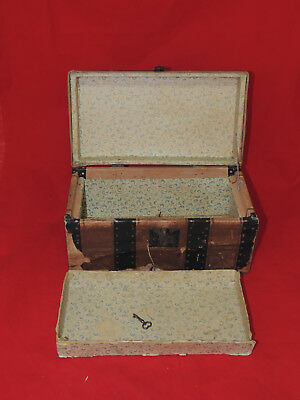 Antique Wood Leather Steamer Travel Doll Trunk Papered with Tray & Key