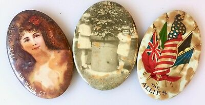 Lot 3 Antique Advertising Pocket Mirrors Paris Millinery Shop Wall St. + Others