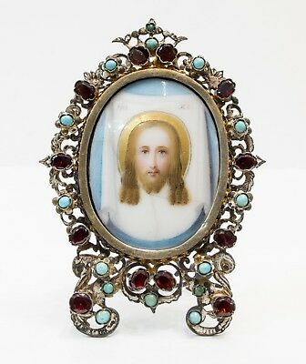 Russian Icon of Image of Christ Not Made By Hands in Silver Frame