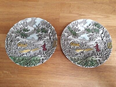 Pair Vintage Saucer Plates The Hunter by Myott Gamekeeper and Retriever Dog