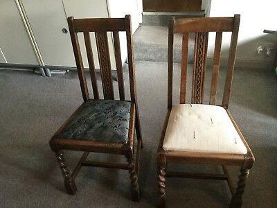 Antique Vintage Retro Old Wood Wooden Shabby Chic Pair Of Dining Chairs