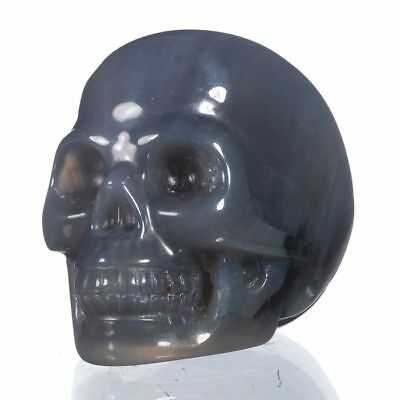 """1.97""""Natural Lace Agate Gemstone Crystal Skull Carving collectibles 27O81"""