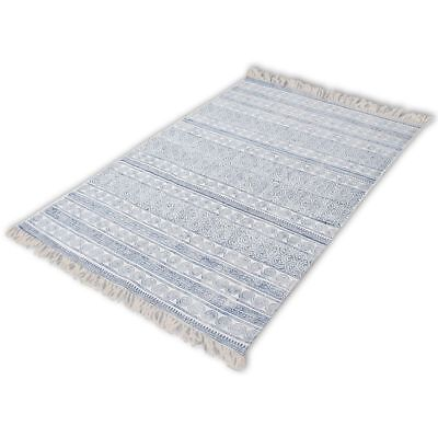 vidaXL Extra Large 100% Cotton Rug Floor Mat Carpet Motif Cover Area Rag Blue