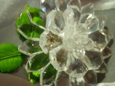 X Large West Germany Signed Vintage 1950's Pretty  Lucite Flower Brooch 46ag8