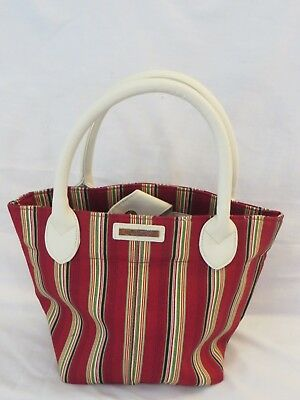 Longaberger Retired Christmas Fabric Tote 2007 Gift Bag Faux Leather Handles NEW