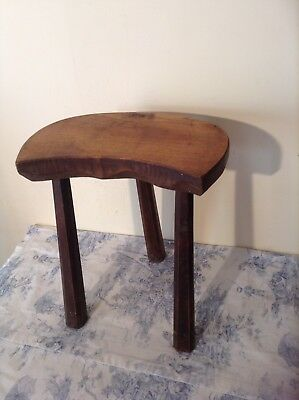Vintage French Milking Stool - Hand Carved Chunky Rustic Farmhouse (2538)