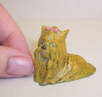 Vintage COLD PAINTED Solid BRONZE Metal YORKSHIRE TERRIER Yorkie Dog MINIATURE