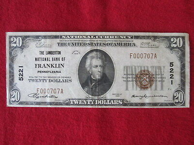 Rare Bank Of Franklin Pennsylvania $20 National Currency Note Low Serial #