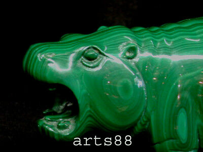 Natural Malachrite Hippopotamus Hand Carved One of a KIND