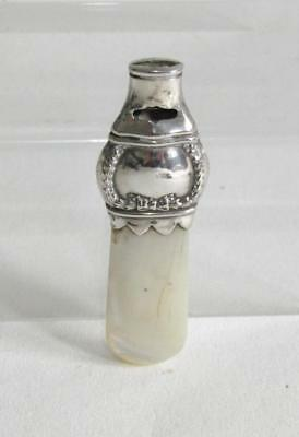 Antique Hallmarked Silver & Mother of Pearl Baby Rattle/ Whistle/Teething c1907