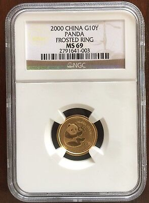 2000 Gold China Panda, Frosted Ring, 1/10th Oz Gold Ten Yuan (10Y), NGC MS69