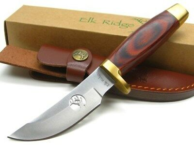 Elk Ridge ER-050 Brown Wood Straight Full Tang Hunting Knife + Sheath