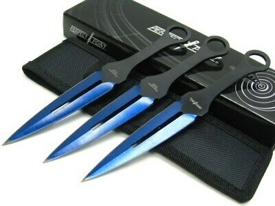Perfect Point PP-105BL-7-3 Black Blue 3 Throwing Knife Dagger Set + Sheath
