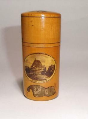 Antique Mauchline Ware - Summit of Snowdon Wales Wooden Sewing Needle Holder Pot