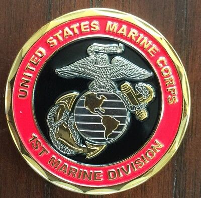 USMC Challenge Coin, 1st Marine Division, The Old Breed, New, Original Packaging