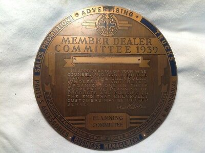 1939 Chevrolet Member Dealer-PLANNING Committee Showroom Plaque