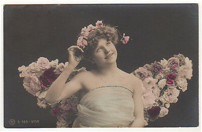 Edwardian Lady As A Fairy With Wings Of Roses Original Antique Photo Postcard
