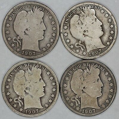 1907 P D O S Barber Half Dollar 50C Set Of 4 Coins Choice Vg Problem Free (6577)