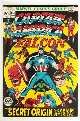 P987. CAPTAIN AMERICA #155 From Marvel Comics 5.0 VG/FN (1972) Nomad Origin ]