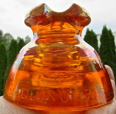 * antique CARNIVAL GLASS vintage PYREX INSULATOR electric MADE IN USA orange #63