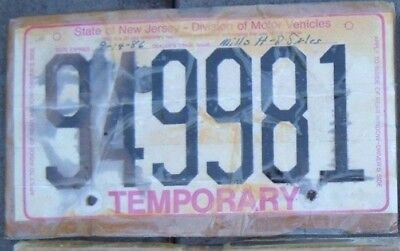 NEW JERSEY 1980s Vintage TEMPORARY  Motorcycle Cycle License plate  949981