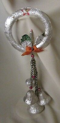 vintage holiday decoration foil wreath w/ Christmas bells on mercury glass beads