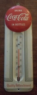 Original Vintage Coca-Cola 'red Ball' Embossed Tin Litho Thermometer/sign-9.5X3!
