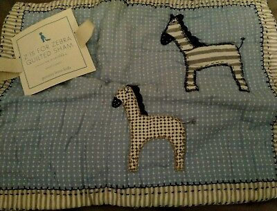 New Pottery Barn Kids Blue Z is for ZEBRA Small SHAM decorative size