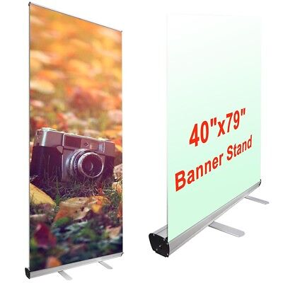 """2pcs Economy 39.5""""x79"""" Retractable Roll Up Banner Stand Trade Show Sign Display"""