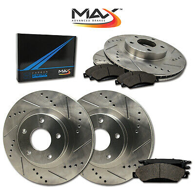 13 14 15 Ford C-Max Hybrid SE / SEL Slotted Drilled Rotor w/Metallic Pads F+R