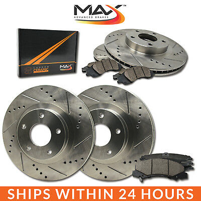 12 13 14 15 16 17 Fit Hyundai Accent Slotted Drilled Rotor w/Ceramic Pads F+R