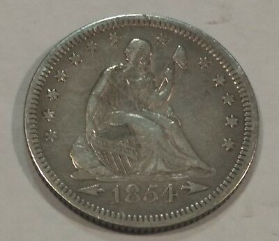 1854 with arrows Seated Liberty silver quarter dollar. VF