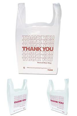"""Inteplast Group Thw1Val""""Thank You"""" Handled T-Shirt Bags, 11 1/2 X 21, Polyethyle"""