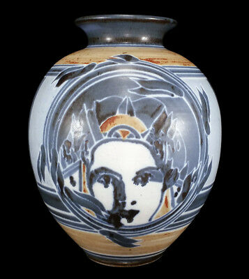 Modernist Vintage Studio Art Pottery Ball Vase Nicely Decorated W/ Women's Faces