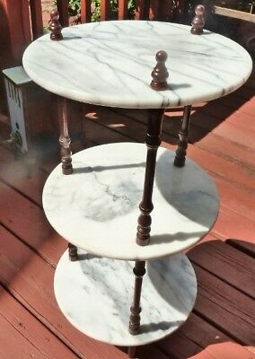 Vintage 3 Tier Turned Wood Spindle & Marble Plant Stand, Curio Display