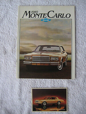 1980 Chevrolet MONTE CARLO brochure and 1980 Monte Carlo post card