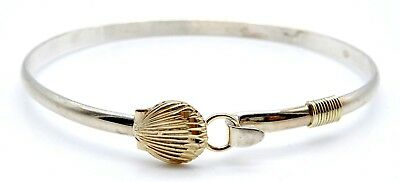 BEAUTIFUL Sterling Silver / Solid 14k Yellow Gold CLAM Ladies Bangle Bracelet
