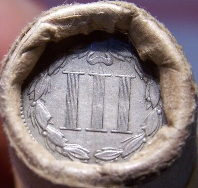3 Cent Nickel/1891 Indian Head Cent Great End Coins Antique Roll Shown #9433