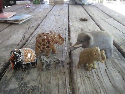 5 Vtg. Small Elephant Figurines with Neat Features but They are Shabby & Old
