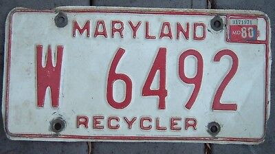 MARYLAND VINTAGE 1980 RECYCLER  license plate  W 6492