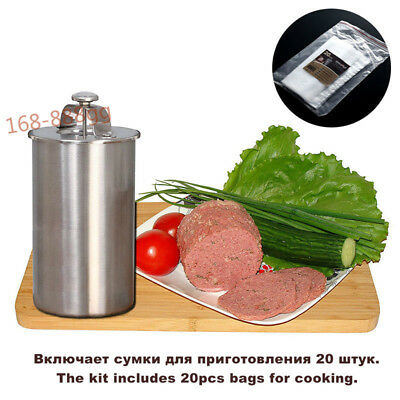 Includes Cooking bags 20 pcs & a Thermometer Patty Meat Press Pressure Ham Maker