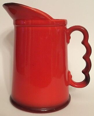 Vtg Metlox Poppytrail Vernonware Red Rooster Red 24 Ounce Milk Pitcher MM