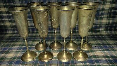 """Set of 8 Silverplated Goblets International Silver Co Tall Champagne Wine 8.5"""""""