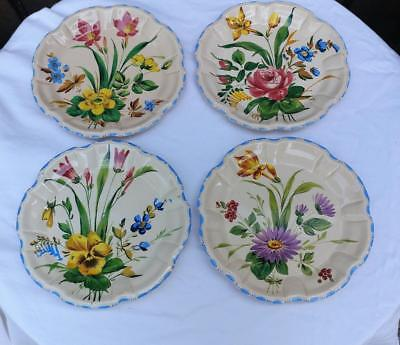"""Antique Nove #355 4 Hand Painted Floral Italy  Italian Country Pottery Plates 8"""""""